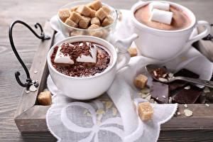 Фотографии Горячий шоколад Зефир Шоколад Маршмэллоу Чашка Сахар Продукты питания