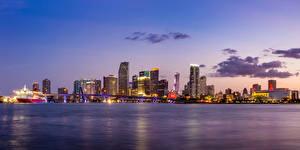 Обои Дома Вечер Мосты Небо США Побережье Майами Залив Города фото