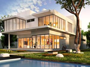 Фотографии Здания Ландшафт Особняк Дизайн Ствол дерева Города 3D_Графика