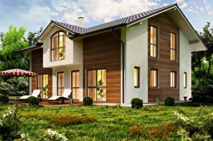 Обои Дома Особняк Дизайн Трава Города 3D_Графика фото