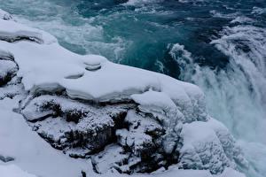 Картинка Исландия Водопады Снег Природа