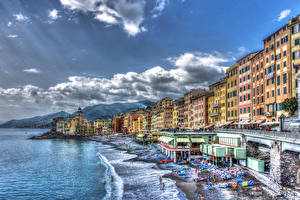 Обои Италия Дома Курорты Побережье Волны Облака HDR Camogli Города фото