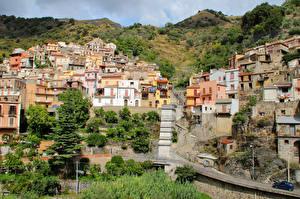 Фотографии Италия Сицилия Здания Горы город