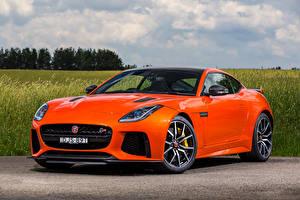 Обои Jaguar Оранжевый Металлик 2016 F-Type SVR Автомобили фото