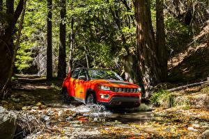 Обои Jeep Красный Оранжевый 2017 Compass Trailhawk Автомобили фото