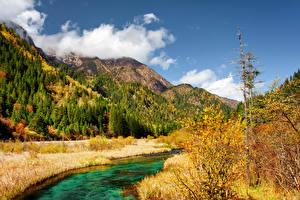 Картинка Цзючжайгоу парк Китай Парк Осень Гора Речка Пейзаж Природа