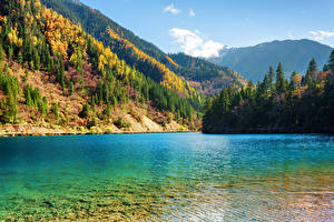 Обои Цзючжайгоу парк Китай Парки Озеро Осень Горы Леса Пейзаж Природа фото