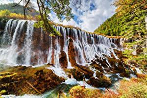 Обои Цзючжайгоу парк Китай Парки Водопады Осень Скала Природа фото