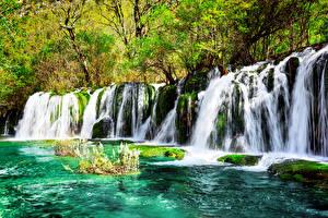 Фотография Цзючжайгоу парк Китай Парки Водопады Мох Природа