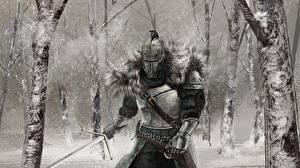 Обои Рыцарь Dark Souls Шлем Доспехи Мечи 2 Игры Фэнтези фото