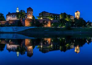 Фотография Краков Польша Замки Реки Ночь Wawel Castle Города