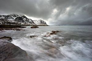 Фотография Лофотенские острова Норвегия Берег Зимние Волны Горы