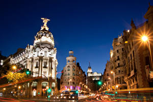 Обои Мадрид Дома Испания Улица Ночь Движение Города фото