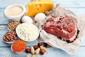 Обои Мясные продукты Сыры Орехи Творог Яйца Еда фото
