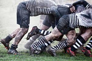 Фотографии Мужчины Грязь Ноги Шорты Гольфы Кроссовки rugby Спорт