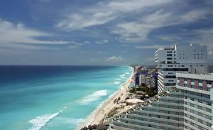 Обои Мексика Дома Волны Небо Побережье Море Горизонт Cancun Города фото