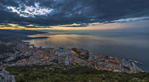 Обои Монако Побережье Дома Вечер Облака La Condamine Города фото