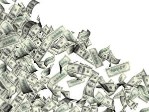 Картинки Деньги Купюры Доллары Белый фон 100