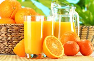 Обои Апельсин Мандарины Сок Стакан Кувшин Еда фото