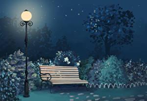 Обои Парки Уличные фонари Скамейка Ночь Природа фото