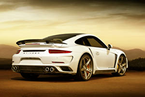 Обои Porsche Белый Сзади GTR 911 Stinger Turbo Девушки фото