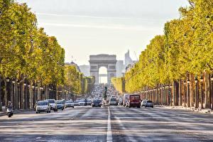 Обои Дороги Франция Париж Арка Города фото