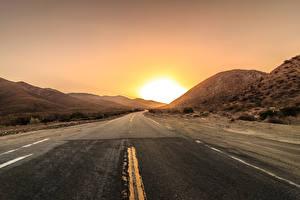 Обои Дороги Рассветы и закаты Солнце Асфальт Природа фото