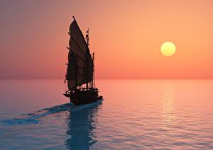 Картинки Парусные Рассветы и закаты Море Солнце 3D Графика