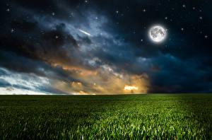 Фотография Пейзаж Поля Звезды Небо В ночи Луна Облака