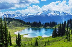 Обои для рабочего стола Пейзаж Гора Озеро Луга Канада Банф Природа