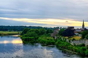 Обои Шотландия Реки Побережье Вечер Кусты Kelso Природа фото