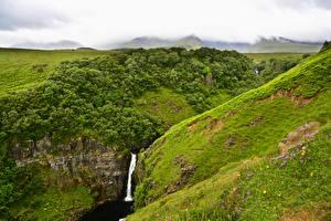 Фотографии Шотландия Водопады Каньон Трава