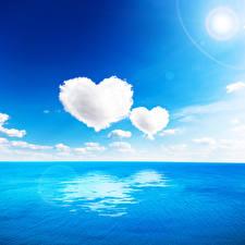 Обои Море Небо Облака Сердце Горизонт Природа фото