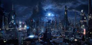 Картинки Небоскребы Дома Фантастический мир Мегаполис Ночь Фантастика
