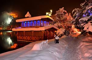 Фотография Словения Зимние Снег Ночные Bled