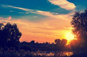 Обои Рассветы и закаты Пруд Небо Вечер Облака Природа фото