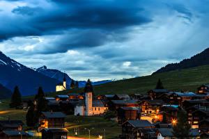 Обои Швейцария Дома Горы Вечер Небо Gluringen Goms Города фото