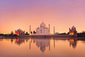 Фотографии Тадж-Махал Индия Вечер Мечеть Agra Uttar Pradesh Города