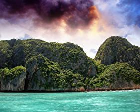 Обои Таиланд Море Небо Облака Скала Phi Phi Island Природа фото