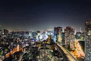 Фотография Токио Япония Дома Ночные Мегаполис