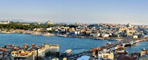 Обои Турция Стамбул Дома Реки Мосты Города фото