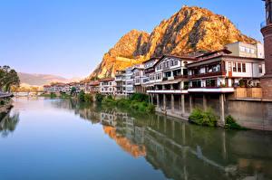 Обои Турция Реки Дома Горы Amasya Города фото