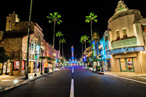 Картинка США Диснейленд Парки Здания Дороги HDRI Калифорния Анахайм Улица В ночи город