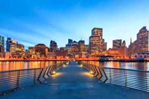Обои США Вечер Дома Мосты Сан-Франциско Уличные фонари Залив Города фото