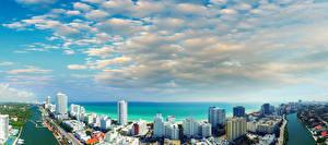 Обои США Дома Побережье Небо Майами Облачно Флорида Водный канал город