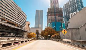 Обои США Дома Дороги Майами Улица Города фото