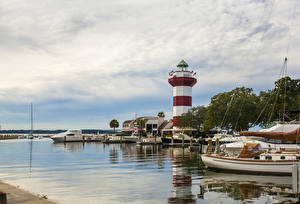 Обои США Маяки Причалы Яхта Парусные Hilton Head Города фото
