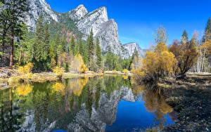 Обои США Парки Горы Озеро Осень Пейзаж Йосемити Деревья Природа фото