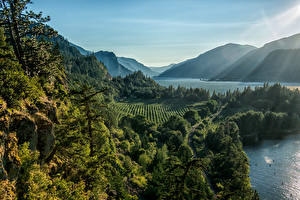 Обои США Парки Горы Реки Леса Ruthton Park Point Hood River Oregon Природа фото