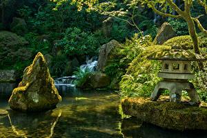 Картинка США Парки Водопады Камни Мох Japanese Garden Portland